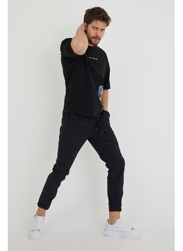 XHAN Lila Baskılı Salaş T-Shirt 1Kxe1-44636-26 Siyah